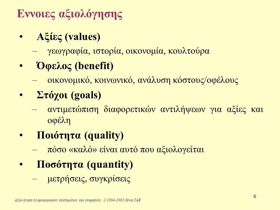 Αξιολόγηση πληροφοριακών συστημάτων και υπηρεσιών, 2/2004-2005/Ιόνιο ΤΑΒ 6 Εννοιες αξιολόγησης Αξίες (values) –γεωγραφία, ιστορία, οικονομία, κουλτούρα Όφελος (benefit) –οικονομικό, κοινωνικό, ανάλυση κόστους/οφέλους Στόχοι (goals) –αντιμετώπιση διαφορετικών αντιλήψεων για αξίες και οφέλη Ποιότητα (quality) –πόσο «καλό» είναι αυτό που αξιολογείται Ποσότητα (quantity) –μετρήσεις, συγκρίσεις