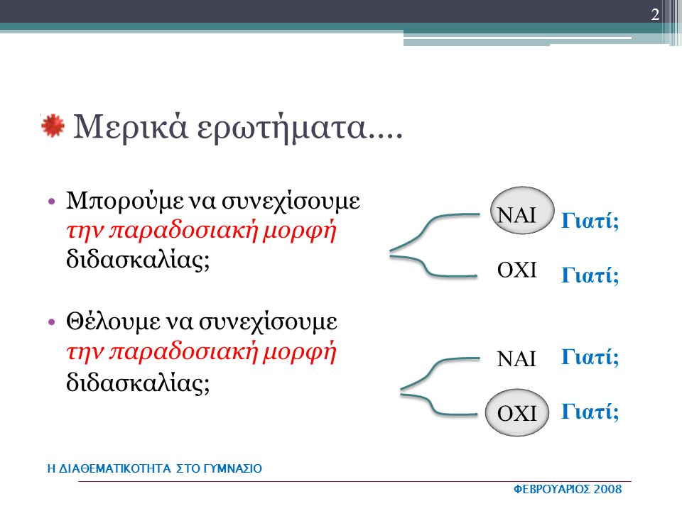 Η ΔΙΑΘΕΜΑΤΙΚΟΤΗΤΑ ΣΤΟ ΓΥΜΝΑΣΙΟ ΦΕΒΡΟΥΑΡΙΟΣ 2008 Μερικές σκέψεις Η αμφισβήτηση των υπαρχόντων επιστημονικών αντιλήψεων σχετικά με τη φύση και τις διαδικασίες απόκτησης γνώσης Οι ραγδαίες αλλαγές στις κοινωνικο-οικονομικές συνθήκες, που συντελούνται στην εποχή μας Ο προβληματισμός για την αναποτελεσματικότητα του παραδοσιακού σχολικού συστήματος 3