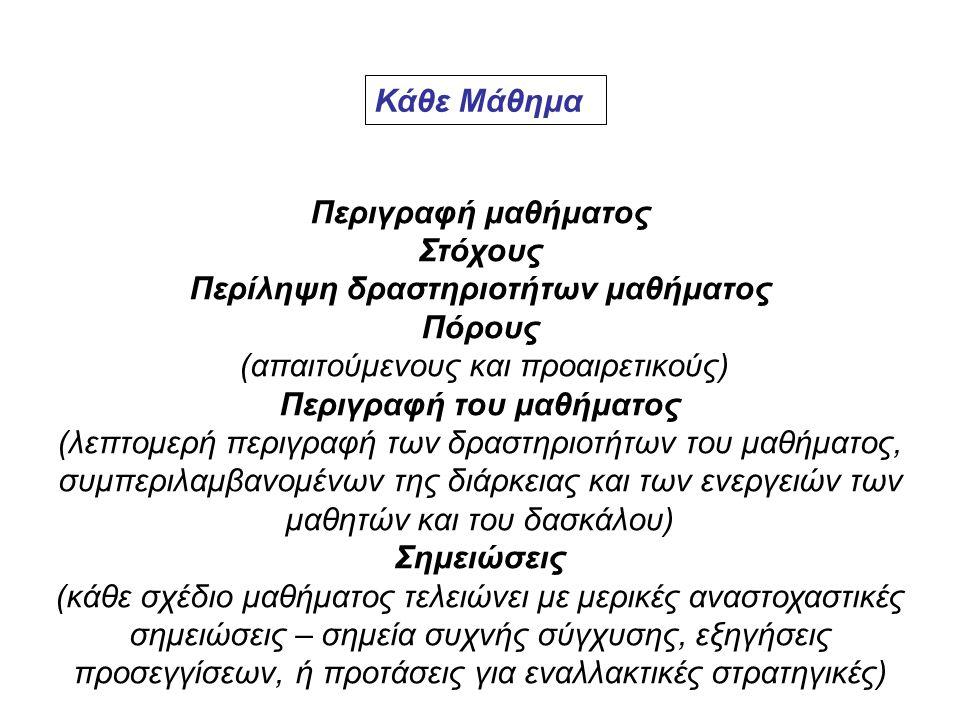 Κάθε Μάθημα Περιγραφή μαθήματος Στόχους Περίληψη δραστηριοτήτων μαθήματος Πόρους (απαιτούμενους και προαιρετικούς) Περιγραφή του μαθήματος (λεπτομερή