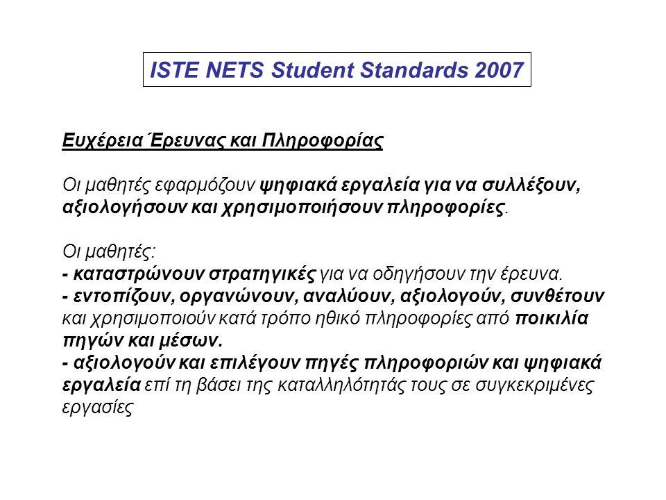 ISTE NETS Student Standards 2007 Ευχέρεια Έρευνας και Πληροφορίας Οι μαθητές εφαρμόζουν ψηφιακά εργαλεία για να συλλέξουν, αξιολογήσουν και χρησιμοποι