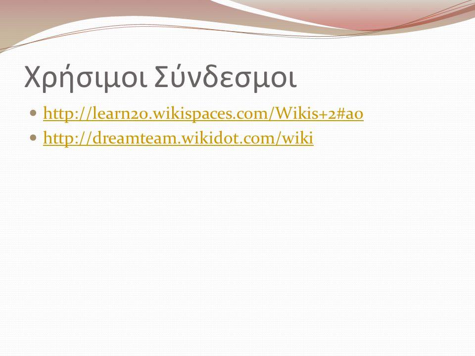 Χρήσιμοι Σύνδεσμοι http://learn20.wikispaces.com/Wikis+2#a0 http://dreamteam.wikidot.com/wiki