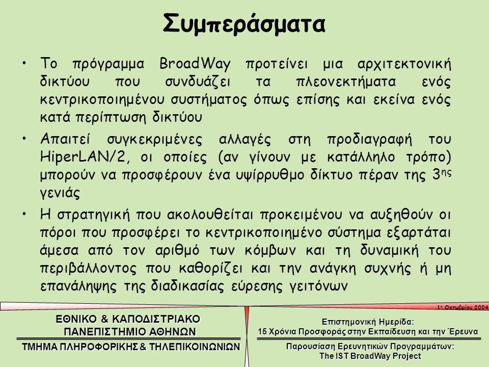1 η Οκτωβρίου 2004 ΕΘΝΙΚΟ & ΚΑΠΟΔΙΣΤΡΙΑΚΟ ΠΑΝΕΠΙΣΤΗΜΙΟ ΑΘΗΝΩΝ ΤΜΗΜΑ ΠΛΗΡΟΦΟΡΙΚΗΣ & ΤΗΛΕΠΙΚΟΙΝΩΝΙΩΝ Επιστημονική Ημερίδα: 15 Χρόνια Προσφοράς στην Εκπαίδευση και την Έρευνα Παρουσίαση Ερευνητικών Προγραμμάτων: The IST BroadWay Project Το πρόγραμμα BroadWay προτείνει μια αρχιτεκτονική δικτύου που συνδυάζει τα πλεονεκτήματα ενός κεντρικοποιημένου συστήματος όπως επίσης και εκείνα ενός κατά περίπτωση δικτύου Απαιτεί συγκεκριμένες αλλαγές στη προδιαγραφή του HiperLAN/2, οι οποίες (αν γίνουν με κατάλληλο τρόπο) μπορούν να προσφέρουν ένα υψίρρυθμο δίκτυο πέραν της 3 ης γενιάς Η στρατηγική που ακολουθείται προκειμένου να αυξηθούν οι πόροι που προσφέρει το κεντρικοποιημένο σύστημα εξαρτάται άμεσα από τον αριθμό των κόμβων και τη δυναμική του περιβάλλοντος που καθορίζει και την ανάγκη συχνής ή μη επανάληψης της διαδικασίας εύρεσης γειτόνων Συμπεράσματα