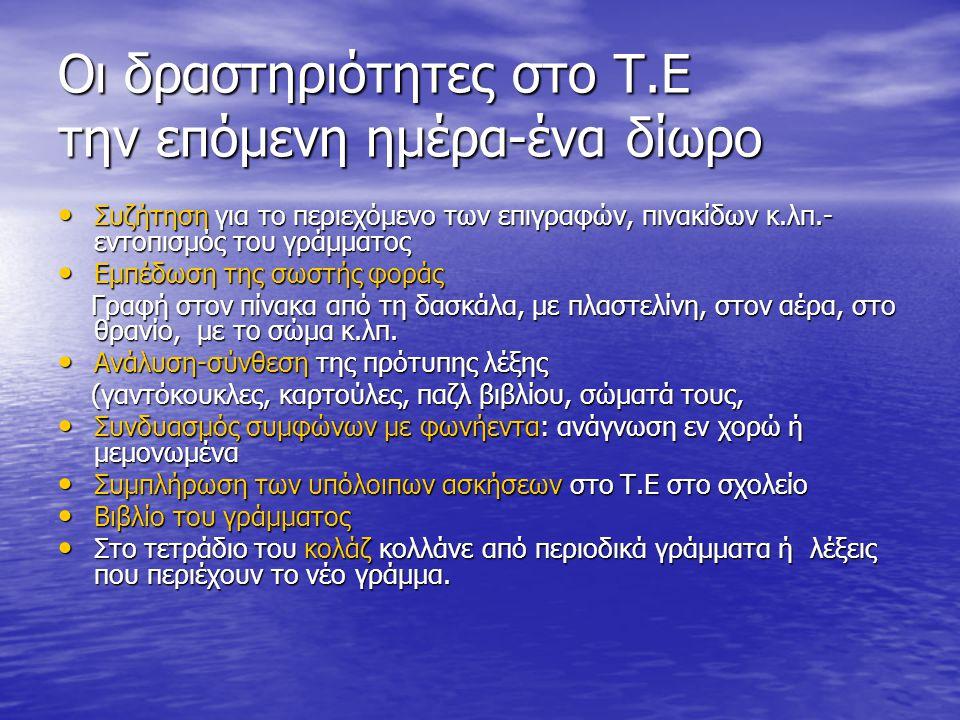 Οι δραστηριότητες στο Τ.Ε την επόμενη ημέρα-ένα δίωρο Συζήτηση για το περιεχόμενο των επιγραφών, πινακίδων κ.λπ.- εντοπισμός του γράμματος Συζήτηση γι