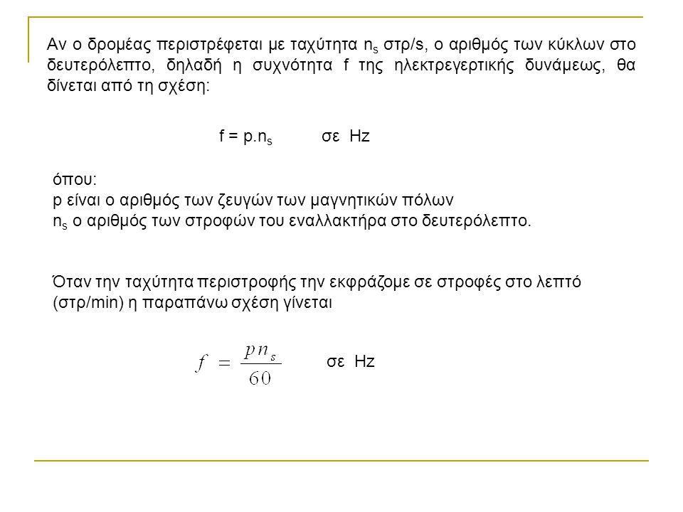 Αν ο δρομέας περιστρέφεται με ταχύτητα n s στρ/s, ο αριθμός των κύκλων στο δευτερόλεπτο, δηλαδή η συχνότητα f της ηλεκτρεγερτικής δυνάμεως, θα δίνεται από τη σχέση: f = p.n s σε Hz όπου: p είναι ο αριθμός των ζευγών των μαγνητικών πόλων n s ο αριθμός των στροφών του εναλλακτήρα στο δευτερόλεπτο.