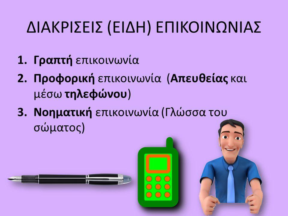 ΔΙΑΚΡΙΣΕΙΣ (ΕΙΔΗ) ΕΠΙΚΟΙΝΩΝΙΑΣ 1.Γραπτή επικοινωνία 2.Προφορική επικοινωνία (Απευθείας και μέσω τηλεφώνου) 3.Νοηματική επικοινωνία (Γλώσσα του σώματος