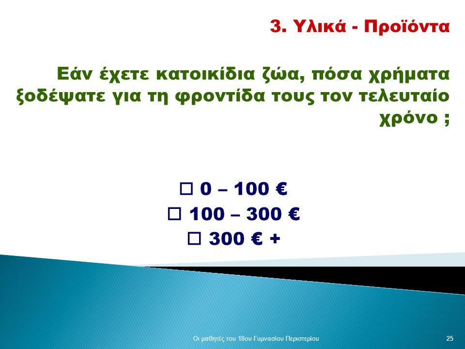 3. Υλικά - Προϊόντα Εάν έχετε κατοικίδια ζώα, πόσα χρήματα ξοδέψατε για τη φροντίδα τους τον τελευταίο χρόνο ;  0 – 100 €  100 – 300 €  300 € + Οι