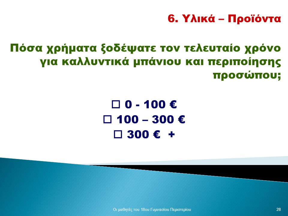6. Υλικά – Προϊόντα Πόσα χρήματα ξοδέψατε τον τελευταίο χρόνο για καλλυντικά μπάνιου και περιποίησης προσώπου;  0 - 100 €  100 – 300 €  300 € + Οι
