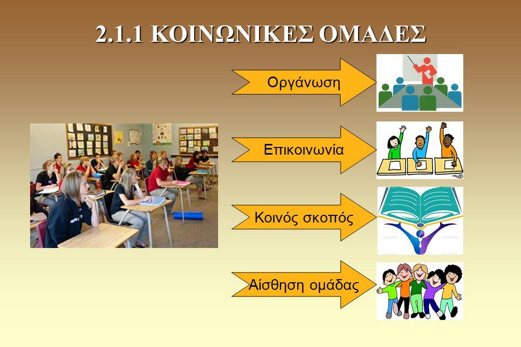2.1.1 ΚΟΙΝΩΝΙΚΕΣ ΟΜΑΔΕΣ Οργάνωση Επικοινωνία Κοινός σκοπός Αίσθηση ομάδας