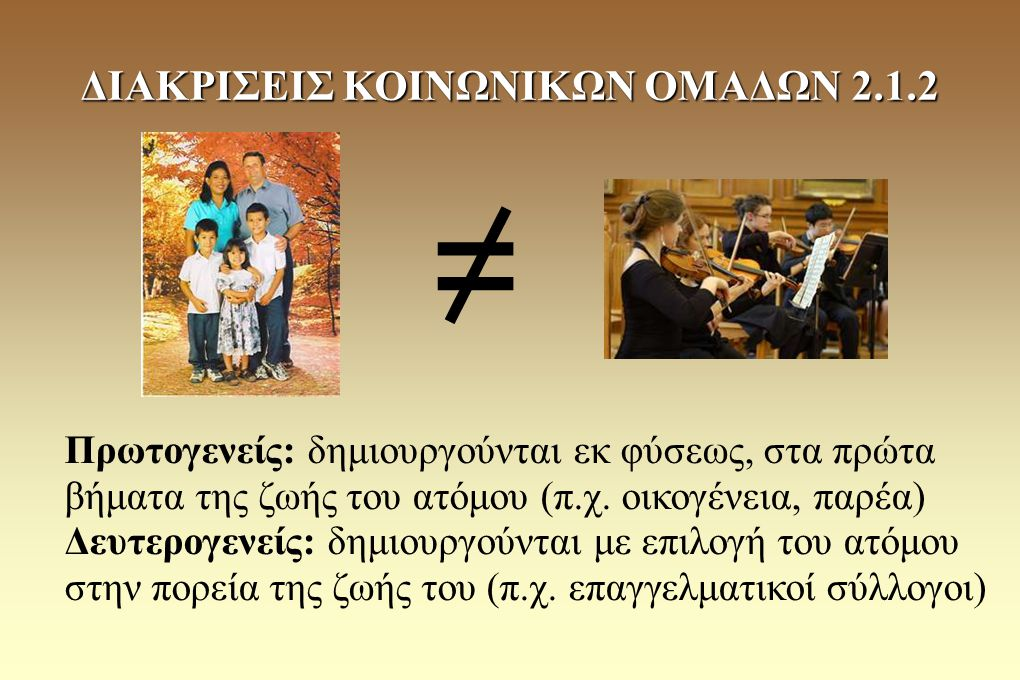 Πρωτογενείς: δημιουργούνται εκ φύσεως, στα πρώτα βήματα της ζωής του ατόμου (π.χ. οικογένεια, παρέα) Δευτερογενείς: δημιουργούνται με επιλογή του ατόμ