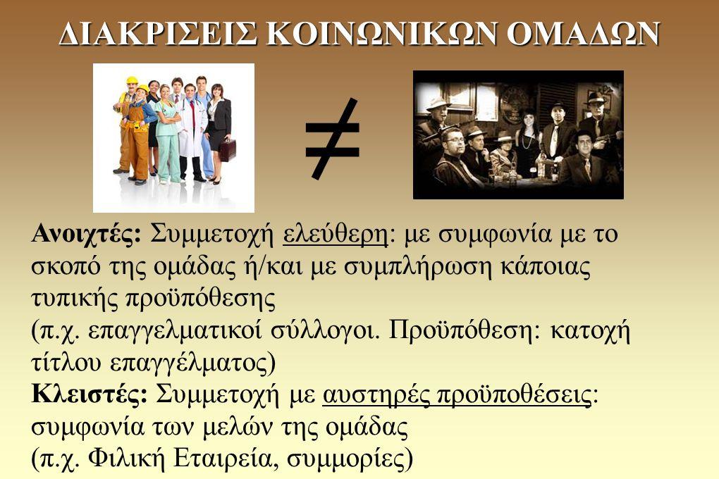 - Ομάδες πίεσης: οργανωμένες ενώσεις πολιτών που σκοπεύουν, μέσα από την άσκηση πίεσης στην πολιτική εξουσία, να προωθήσουν τα συμφέροντα μιας συγκεκριμένης κοινωνικής ομάδας (π.χ.