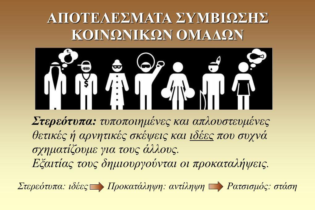 Ευάλωτες κοινωνικές ομάδες: οι κοινωνικές ομάδες που υφίστανται άνιση μεταχείριση (λόγω θρησκευτικής ή εθνικής ταυτότητας, φύλου, αναπηρίας κλπ.) ΑΠΟΤΕΛΕΣΜΑΤΑ ΣΥΜΒΙΩΣΗΣ ΚΟΙΝΩΝΙΚΩΝ ΟΜΑΔΩΝ