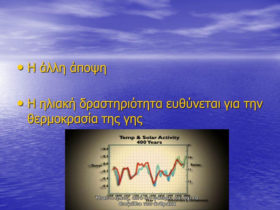 Η άλλη άποψη Η άλλη άποψη Η ηλιακή δραστηριότητα ευθύνεται για την θερμοκρασία της γης Η ηλιακή δραστηριότητα ευθύνεται για την θερμοκρασία της γης