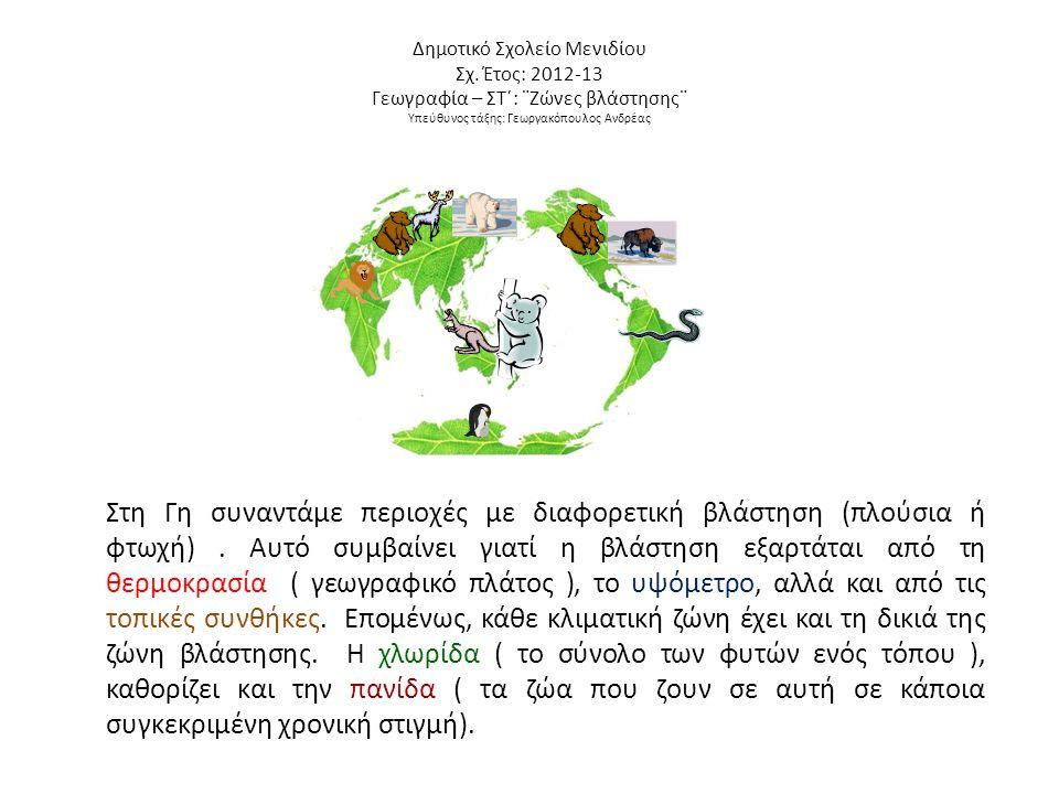 Δημοτικό Σχολείο Μενιδίου Σχ. Έτος: 2012-13 Γεωγραφία – ΣΤ΄: ¨Ζώνες βλάστησης¨ Υπεύθυνος τάξης: Γεωργακόπουλος Ανδρέας Στη Γη συναντάμε περιοχές με δι