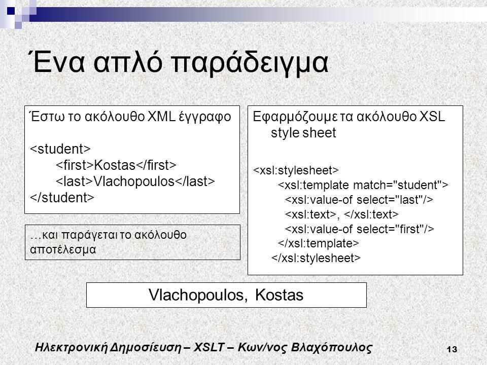 Ηλεκτρονική Δημοσίευση – XSLT – Κων/νος Βλαχόπουλος 13 Ένα απλό παράδειγμα Εφαρμόζουμε τα ακόλουθο XSL style sheet, Έστω το ακόλουθο XML έγγραφο Kostas Vlachopoulos …και παράγεται το ακόλουθο αποτέλεσμα Vlachopoulos, Kostas
