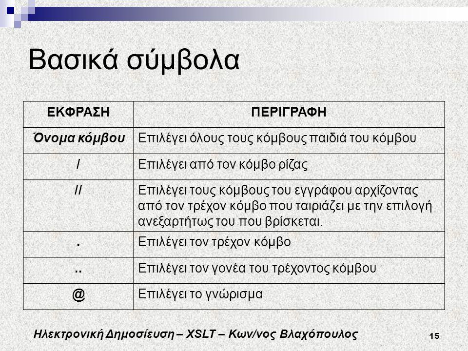 Ηλεκτρονική Δημοσίευση – XSLT – Κων/νος Βλαχόπουλος 15 Βασικά σύμβολα ΕΚΦΡΑΣΗΠΕΡΙΓΡΑΦΗ Όνομα κόμβουΕπιλέγει όλους τους κόμβους παιδιά του κόμβου /Επιλέγει από τον κόμβο ρίζας //Επιλέγει τους κόμβους του εγγράφου αρχίζοντας από τον τρέχον κόμβο που ταιριάζει με την επιλογή ανεξαρτήτως του που βρίσκεται..Επιλέγει τον τρέχον κόμβο..Επιλέγει τον γονέα του τρέχοντος κόμβου @Επιλέγει το γνώρισμα