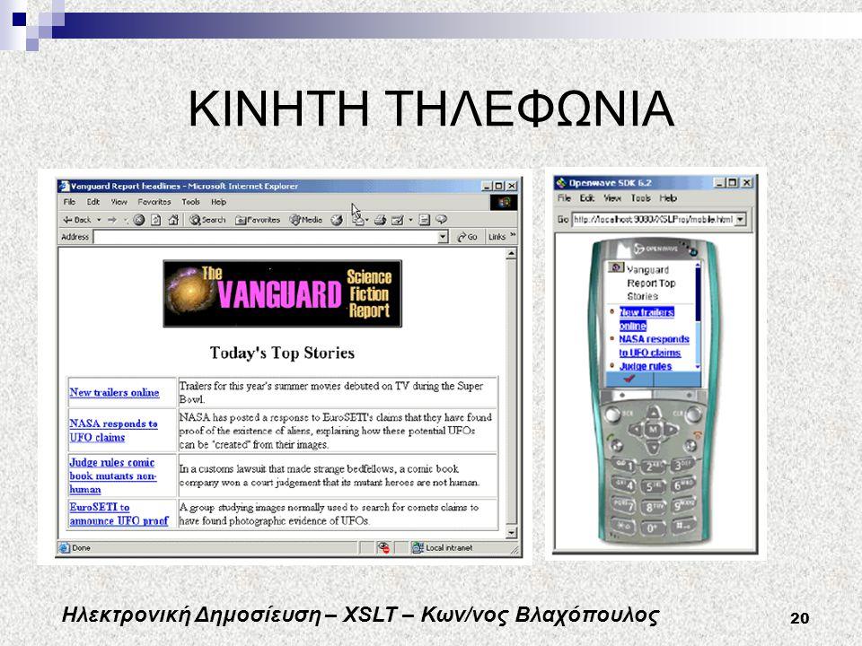 Ηλεκτρονική Δημοσίευση – XSLT – Κων/νος Βλαχόπουλος 20 ΚΙΝΗΤΗ ΤΗΛΕΦΩΝΙΑ