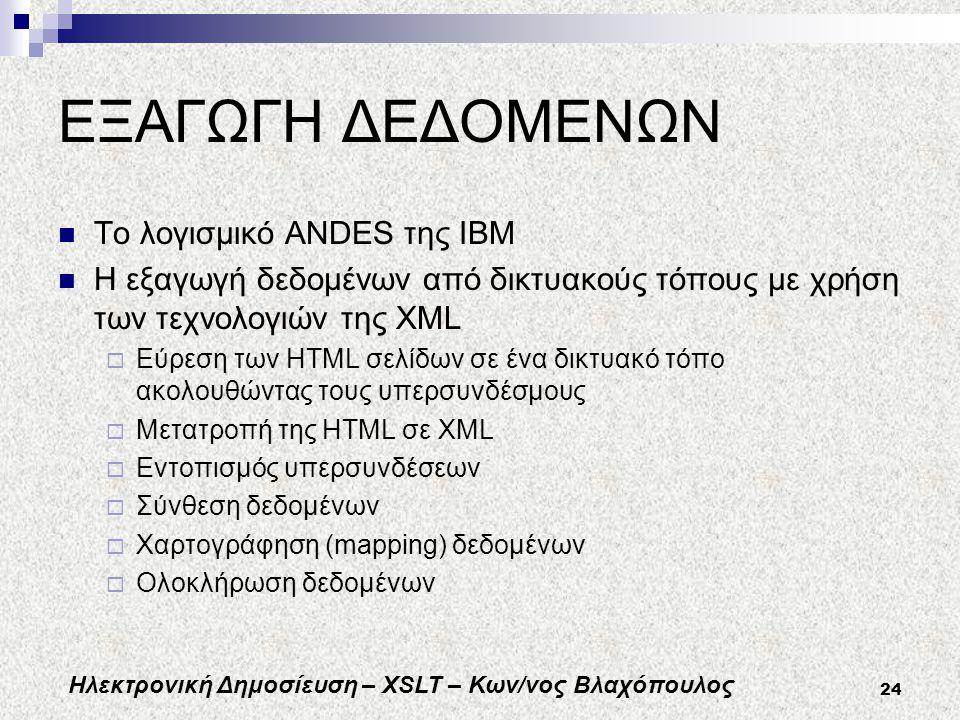 Ηλεκτρονική Δημοσίευση – XSLT – Κων/νος Βλαχόπουλος 24 ΕΞΑΓΩΓΗ ΔΕΔΟΜΕΝΩΝ Το λογισμικό ANDES της ΙΒΜ Η εξαγωγή δεδομένων από δικτυακούς τόπους με χρήση των τεχνολογιών της XML  Εύρεση των HTML σελίδων σε ένα δικτυακό τόπο ακολουθώντας τους υπερσυνδέσμους  Μετατροπή της HTML σε XML  Εντοπισμός υπερσυνδέσεων  Σύνθεση δεδομένων  Χαρτογράφηση (mapping) δεδομένων  Ολοκλήρωση δεδομένων
