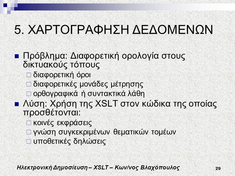Ηλεκτρονική Δημοσίευση – XSLT – Κων/νος Βλαχόπουλος 29 5.