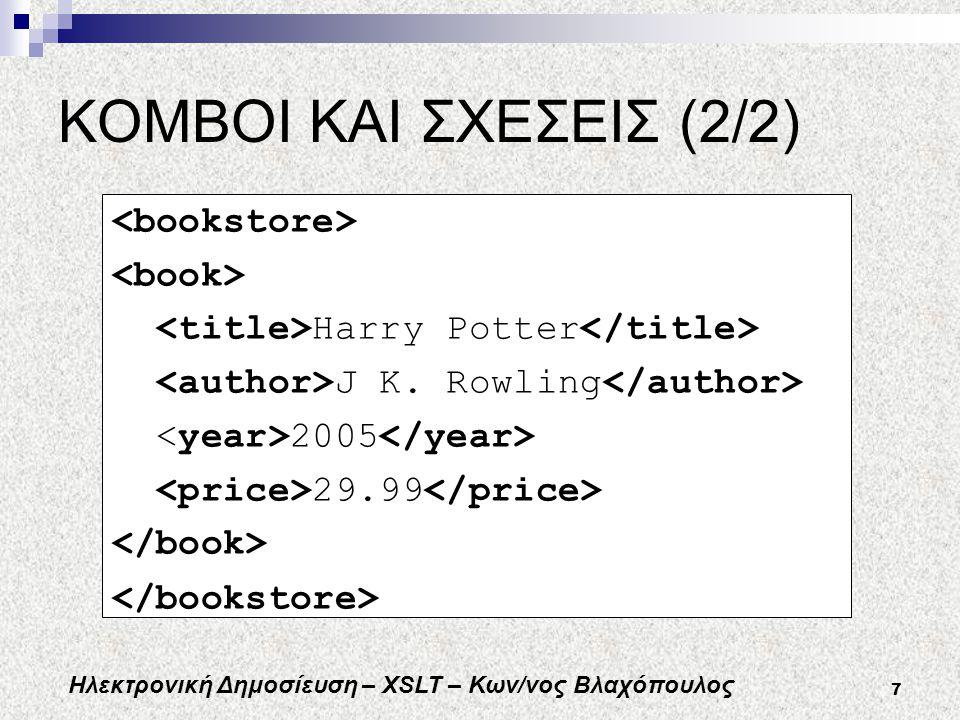 Ηλεκτρονική Δημοσίευση – XSLT – Κων/νος Βλαχόπουλος 7 ΚΟΜΒΟΙ ΚΑΙ ΣΧΕΣΕΙΣ (2/2) Harry Potter J K.