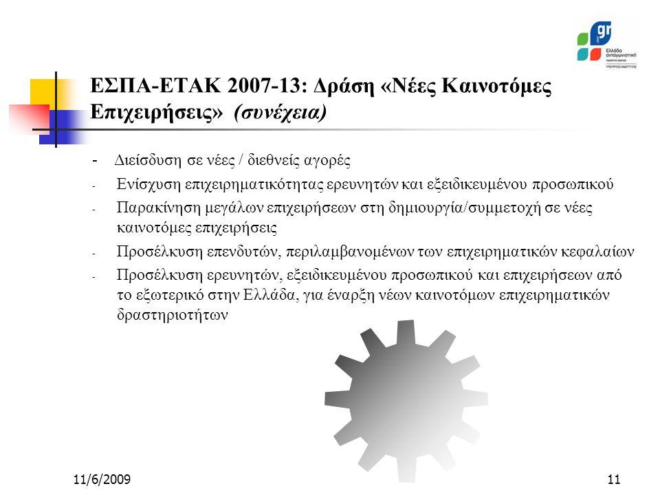 11/6/200911 - Διείσδυση σε νέες / διεθνείς αγορές - Ενίσχυση επιχειρηματικότητας ερευνητών και εξειδικευμένου προσωπικού - Παρακίνηση μεγάλων επιχειρήσεων στη δημιουργία/συμμετοχή σε νέες καινοτόμες επιχειρήσεις - Προσέλκυση επενδυτών, περιλαμβανομένων των επιχειρηματικών κεφαλαίων - Προσέλκυση ερευνητών, εξειδικευμένου προσωπικού και επιχειρήσεων από το εξωτερικό στην Ελλάδα, για έναρξη νέων καινοτόμων επιχειρηματικών δραστηριοτήτων ΕΣΠΑ-ΕΤΑΚ 2007-13: Δράση «Νέες Καινοτόμες Επιχειρήσεις» (συνέχεια)