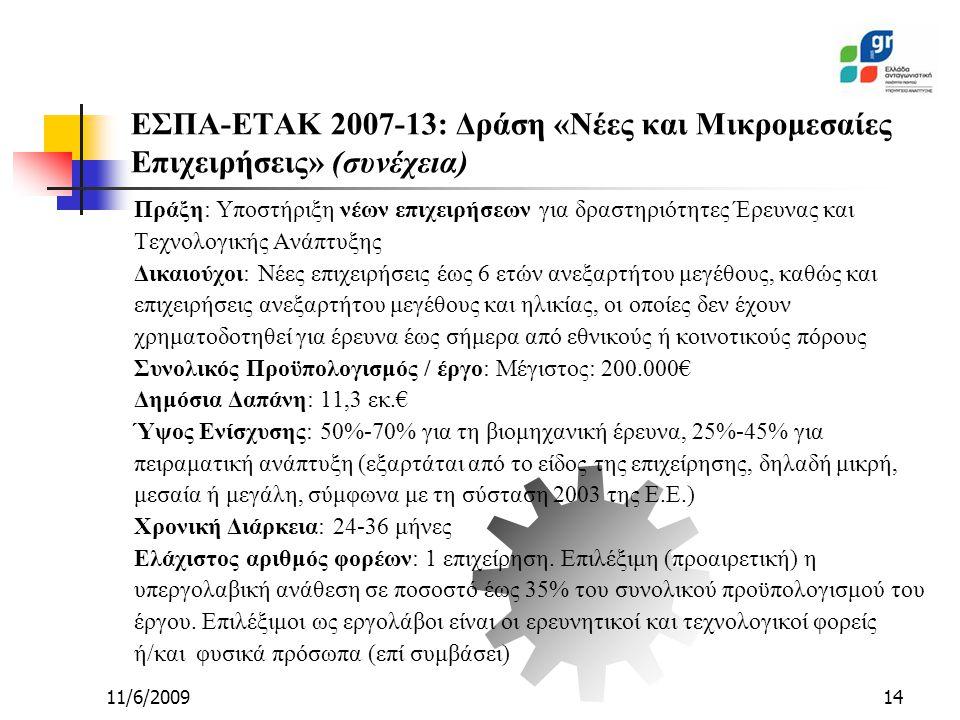 11/6/200914 ΕΣΠΑ-ΕΤΑΚ 2007-13: Δράση «Νέες και Μικρομεσαίες Επιχειρήσεις» (συνέχεια) Πράξη: Υποστήριξη νέων επιχειρήσεων για δραστηριότητες Έρευνας και Τεχνολογικής Ανάπτυξης Δικαιούχοι: Νέες επιχειρήσεις έως 6 ετών ανεξαρτήτου μεγέθους, καθώς και επιχειρήσεις ανεξαρτήτου μεγέθους και ηλικίας, οι οποίες δεν έχουν χρηματοδοτηθεί για έρευνα έως σήμερα από εθνικούς ή κοινοτικούς πόρους Συνολικός Προϋπολογισμός / έργο: Μέγιστος: 200.000€ Δημόσια Δαπάνη: 11,3 εκ.€ Ύψος Ενίσχυσης: 50%-70% για τη βιομηχανική έρευνα, 25%-45% για πειραματική ανάπτυξη (εξαρτάται από το είδος της επιχείρησης, δηλαδή μικρή, μεσαία ή μεγάλη, σύμφωνα με τη σύσταση 2003 της Ε.Ε.) Χρονική Διάρκεια: 24-36 μήνες Ελάχιστος αριθμός φορέων: 1 επιχείρηση.