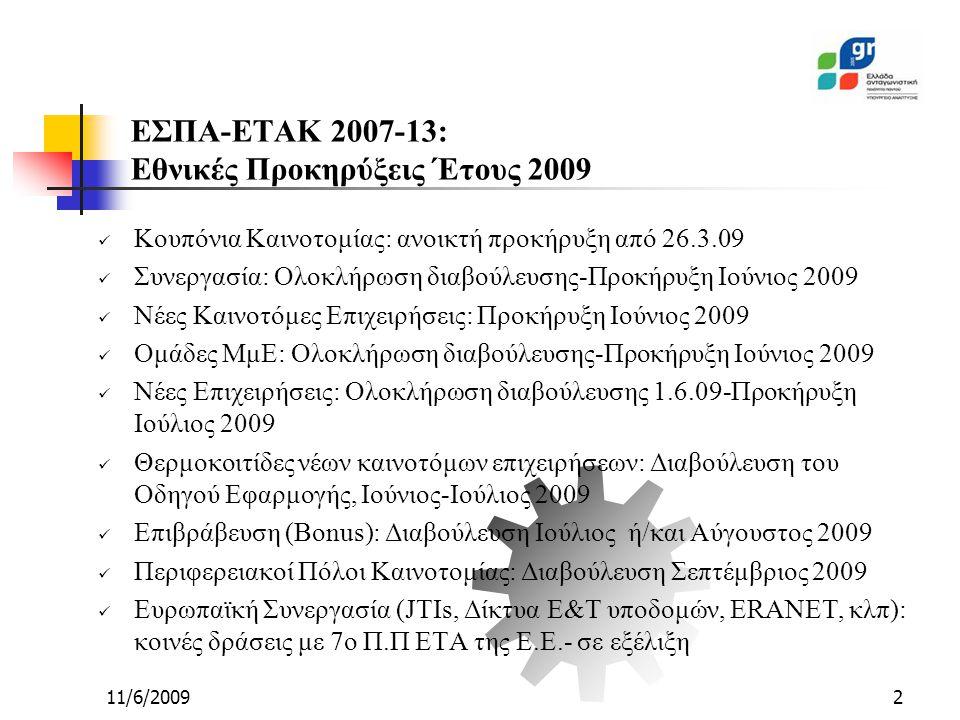 11/6/20092 ΕΣΠΑ-ΕΤΑΚ 2007-13: Εθνικές Προκηρύξεις Έτους 2009 Κουπόνια Καινοτομίας: ανοικτή προκήρυξη από 26.3.09 Συνεργασία: Ολοκλήρωση διαβούλευσης-Προκήρυξη Ιούνιος 2009 Νέες Καινοτόμες Επιχειρήσεις: Προκήρυξη Ιούνιος 2009 Ομάδες ΜμΕ: Ολοκλήρωση διαβούλευσης-Προκήρυξη Ιούνιος 2009 Νέες Επιχειρήσεις: Ολοκλήρωση διαβούλευσης 1.6.09-Προκήρυξη Ιούλιος 2009 Θερμοκοιτίδες νέων καινοτόμων επιχειρήσεων: Διαβούλευση του Οδηγού Εφαρμογής, Ιούνιος-Ιούλιος 2009 Επιβράβευση (Bonus): Διαβούλευση Ιούλιος ή/και Αύγουστος 2009 Περιφερειακοί Πόλοι Καινοτομίας: Διαβούλευση Σεπτέμβριος 2009 Ευρωπαϊκή Συνεργασία (JTIs, Δίκτυα Ε&Τ υποδομών, ERANET, κλπ): κοινές δράσεις με 7ο Π.Π ΕΤΑ της Ε.Ε.- σε εξέλιξη