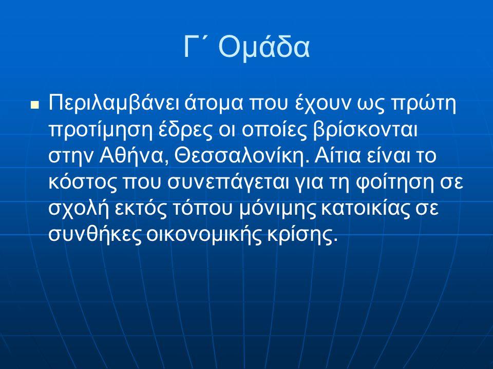 Γ΄ Ομάδα Περιλαμβάνει άτομα που έχουν ως πρώτη προτίμηση έδρες οι οποίες βρίσκονται στην Αθήνα, Θεσσαλονίκη. Αίτια είναι το κόστος που συνεπάγεται για