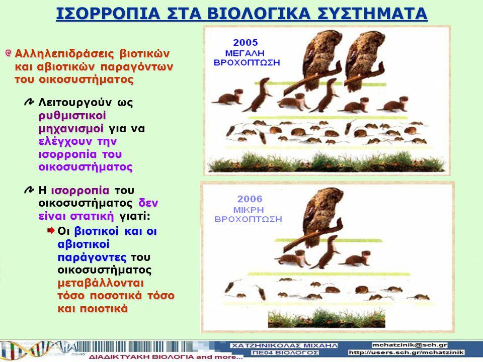 ΙΣΟΡΡΟΠΙΑ ΣΤΑ ΒΙΟΛΟΓΙΚΑ ΣΥΣΤΗΜΑΤΑ Παράδειγμα αλληλεπίδρασης βιοτικών και αβιοτικών παραγόντων του οικοσυστήματος Βροχής με οργανισμούς 2006 δεν έβρεξε