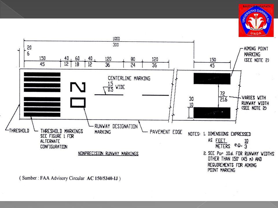 c) Threshold Marking, sebagai petunjuk permukaan runway dalam proses landing, terletak 20~30 ft dari ambang runway. Threshold marking terdiri dari ban