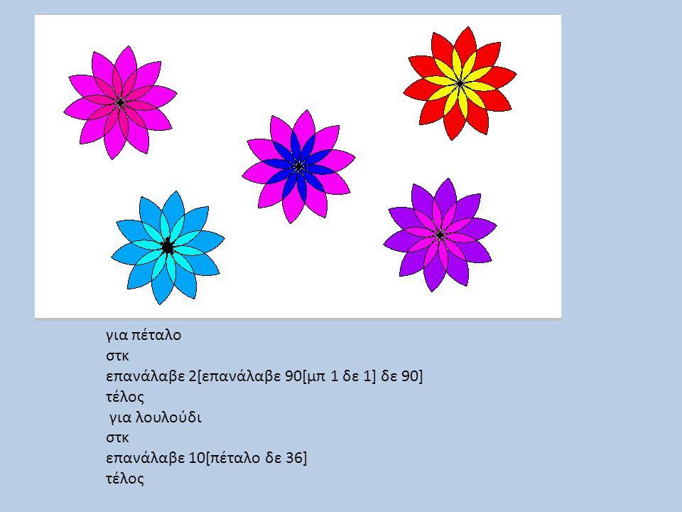 για πέταλο στκ επανάλαβε 2[επανάλαβε 90[μπ 1 δε 1] δε 90] τέλος για λουλούδι στκ επανάλαβε 10[πέταλο δε 36] τέλος