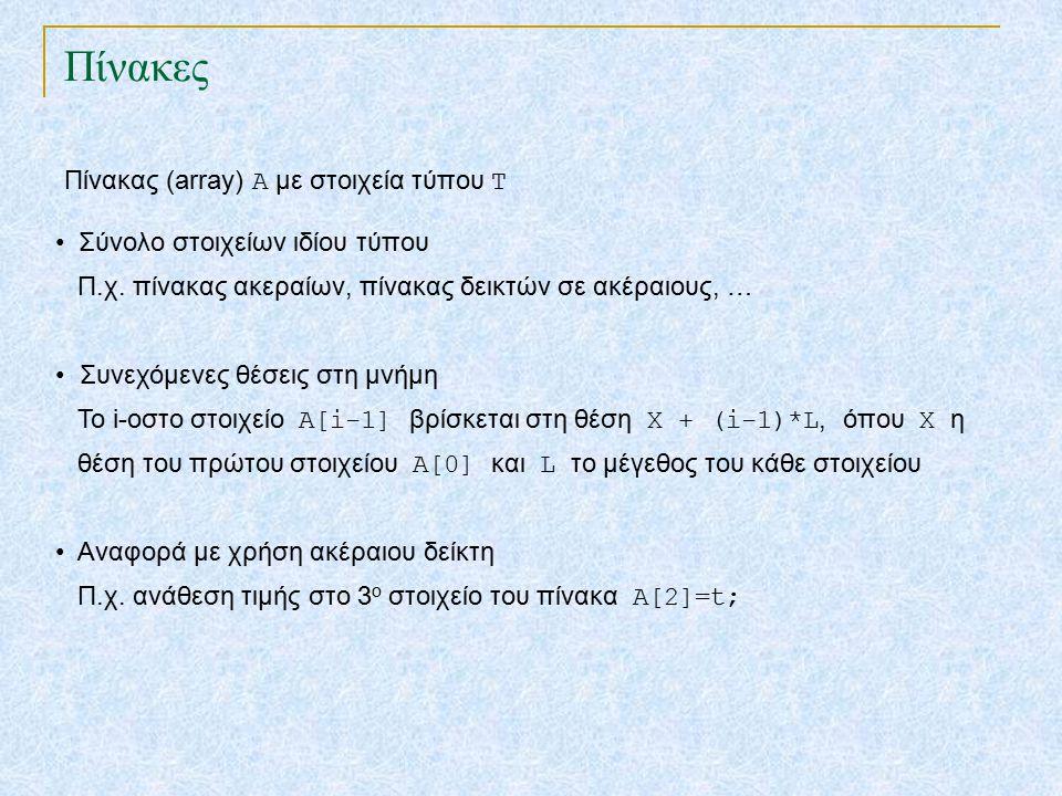 Πίνακες Σύνολο στοιχείων ιδίου τύπου Π.χ.