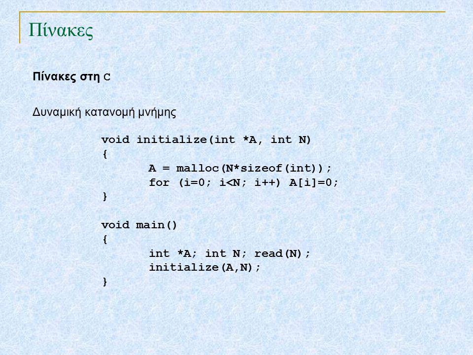 Πίνακες Πίνακες στη C void initialize(int *A, int N) { A = malloc(N*sizeof(int)); for (i=0; i<N; i++) A[i]=0; } void main() { int *A; int N; read(N); initialize(A,N); } Δυναμική κατανομή μνήμης