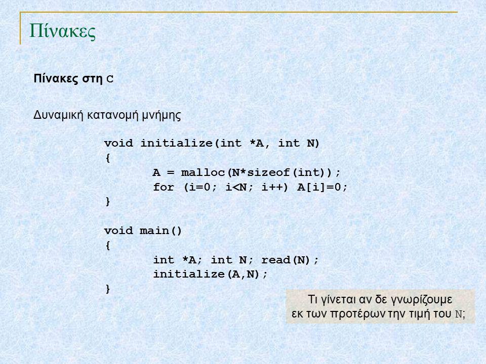 Πίνακες Πίνακες στη C void initialize(int *A, int N) { A = malloc(N*sizeof(int)); for (i=0; i<N; i++) A[i]=0; } void main() { int *A; int N; read(N); initialize(A,N); } Δυναμική κατανομή μνήμης Τι γίνεται αν δε γνωρίζουμε εκ των προτέρων τηv τιμή του N ;