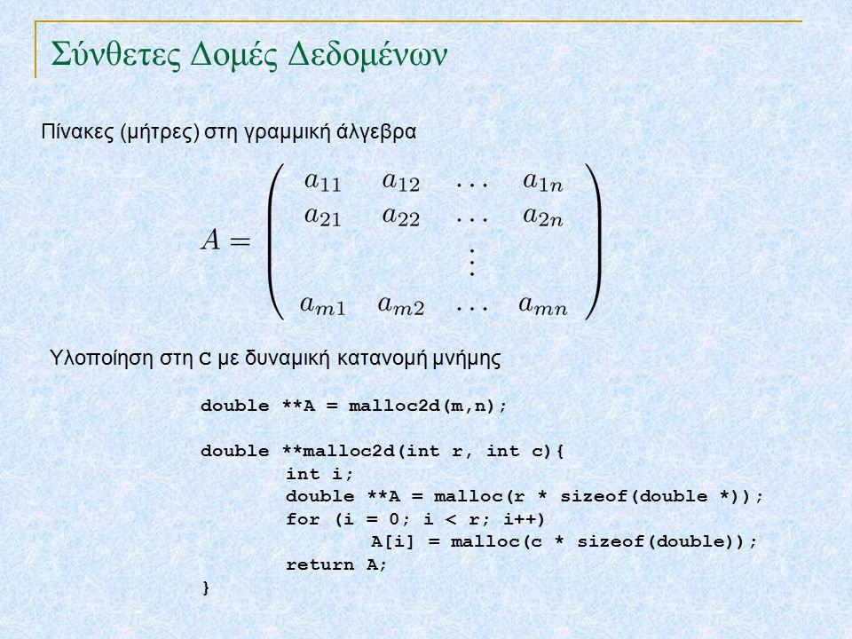 Σύνθετες Δομές Δεδομένων Πίνακες (μήτρες) στη γραμμική άλγεβρα double **Α = malloc2d(m,n); double **malloc2d(int r, int c){ int i; double **Α = malloc(r * sizeof(double *)); for (i = 0; i < r; i++) Α[i] = malloc(c * sizeof(double)); return Α; } Υλοποίηση στη C με δυναμική κατανομή μνήμης