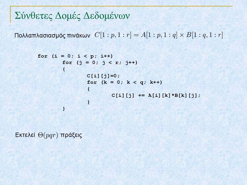 Σύνθετες Δομές Δεδομένων Πολλαπλασιασμός πινάκων for (i = 0; i < p; i++) for (j = 0; j < r; j++) { C[i][j]=0; for (k = 0; k < q; k++) { C[i][j] += A[i][k]*B[k][j]; } Εκτελεί πράξεις