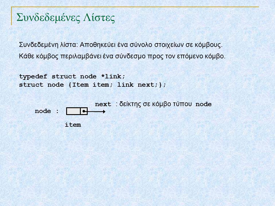 Συνδεδεμένες Λίστες Συνδεδεμένη λίστα: Αποθηκεύει ένα σύνολο στοιχείων σε κόμβους.