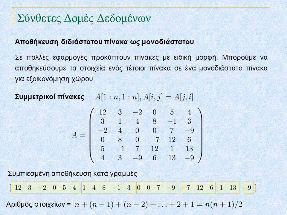 Σύνθετες Δομές Δεδομένων Αποθήκευση διδιάστατου πίνακα ως μονοδιάστατου Σε πολλές εφαρμογές προκύπτουν πίνακες με ειδική μορφή.