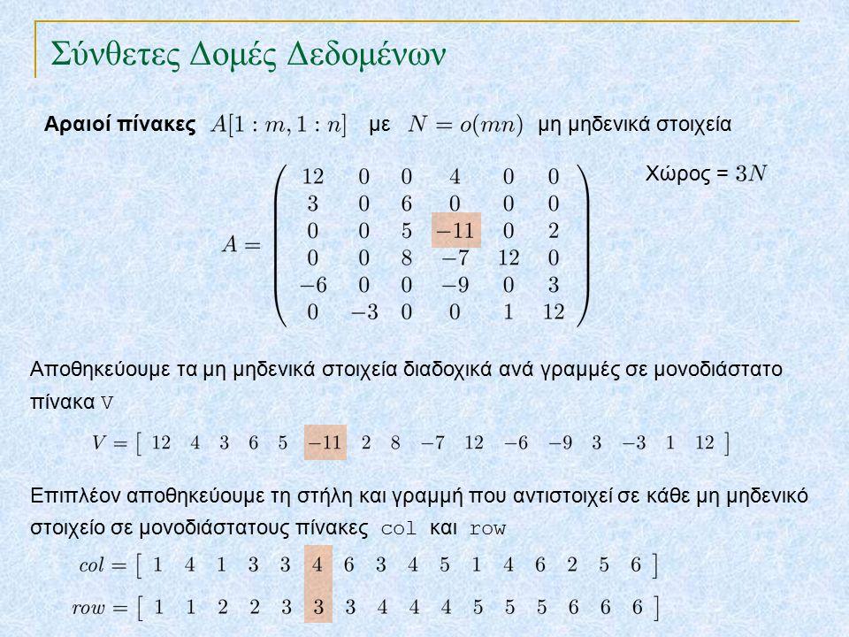 Σύνθετες Δομές Δεδομένων Αραιοί πίνακες Αποθηκεύουμε τα μη μηδενικά στοιχεία διαδοχικά ανά γραμμές σε μονοδιάστατο πίνακα V με μη μηδενικά στοιχεία Επιπλέον αποθηκεύουμε τη στήλη και γραμμή που αντιστοιχεί σε κάθε μη μηδενικό στοιχείο σε μονοδιάστατους πίνακες col και row Χώρος =
