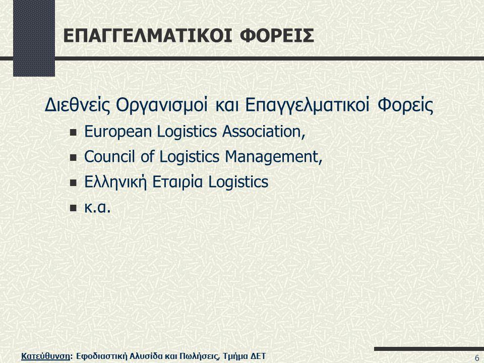 Κατεύθυνση: Εφοδιαστική Αλυσίδα και Πωλήσεις, Τμήμα ΔΕΤ 6 ΕΠΑΓΓΕΛΜΑΤΙΚΟΙ ΦΟΡΕΙΣ Διεθνείς Οργανισμοί και Επαγγελματικοί Φορείς European Logistics Assoc