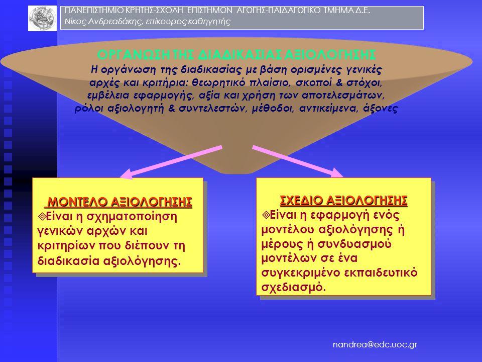 ΟΡΓΑΝΩΣΗ ΤΗΣ ΔΙΑΔΙΚΑΣΙΑΣ ΑΞΙΟΛΟΓΗΣΗΣ Η οργάνωση της διαδικασίας με βάση ορισμένες γενικές αρχές και κριτήρια: θεωρητικό πλαίσιο, σκοποί & στόχοι, εμβέ