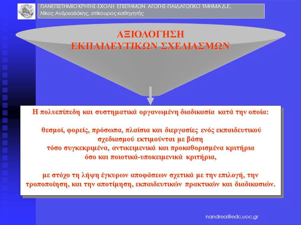ΑΞΙΟΛΟΓΗΣΗ ΕΚΠΑΙΔΕΥΤΙΚΩΝ ΣΧΕΔΙΑΣΜΩΝ Η πολυεπίπεδη και συστηματικά οργανωμένη διαδικασία κατά την οποία: θεσμοί, φορείς, πρόσωπα, πλαίσια και διεργασίε