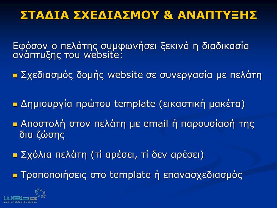 ΣΤΑΔΙΑ ΣΧΕΔΙΑΣΜΟΥ & ΑΝΑΠΤΥΞΗΣ Εφόσον ο πελάτης συμφωνήσει ξεκινά η διαδικασία ανάπτυξης του website: Σχεδιασμός δομής website σε συνεργασία με πελάτη Σχεδιασμός δομής website σε συνεργασία με πελάτη Δημιουργία πρώτου template (εικαστική μακέτα) Δημιουργία πρώτου template (εικαστική μακέτα) Αποστολή στον πελάτη με email ή παρουσίασή της Αποστολή στον πελάτη με email ή παρουσίασή της δια ζώσης δια ζώσης Σχόλια πελάτη (τί αρέσει, τί δεν αρέσει) Σχόλια πελάτη (τί αρέσει, τί δεν αρέσει) Τροποποιήσεις στο template ή επανασχεδιασμός Τροποποιήσεις στο template ή επανασχεδιασμός
