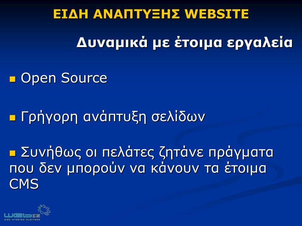 ΕΙΔΗ ΑΝΑΠΤΥΞΗΣ WEBSITE Δυναμικά με έτοιμα εργαλεία Δυναμικά με έτοιμα εργαλεία Open Source Open Source Γρήγορη ανάπτυξη σελίδων Γρήγορη ανάπτυξη σελίδων Συνήθως οι πελάτες ζητάνε πράγματα που δεν μπορούν να κάνουν τα έτοιμα CMS Συνήθως οι πελάτες ζητάνε πράγματα που δεν μπορούν να κάνουν τα έτοιμα CMS