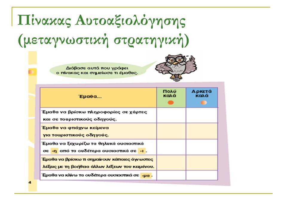 Πίνακας Αυτοαξιολόγησης (μεταγνωστική στρατηγική)