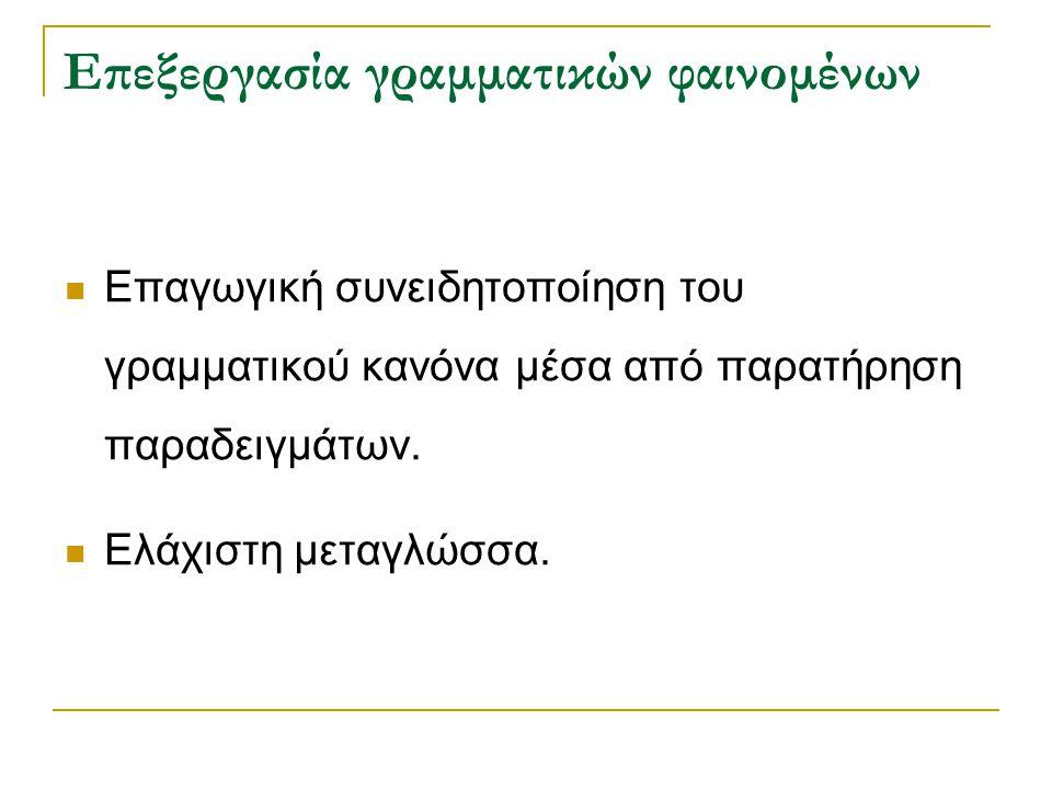 Επεξεργασία γραμματικών φαινομένων Επαγωγική συνειδητοποίηση του γραμματικού κανόνα μέσα από παρατήρηση παραδειγμάτων. Ελάχιστη μεταγλώσσα.