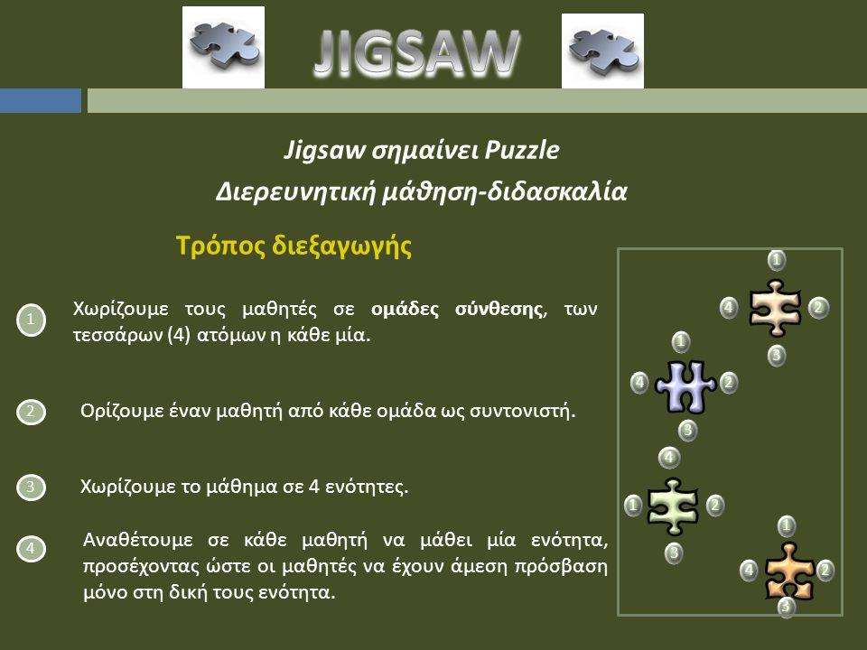 Jigsaw σημαίνει Puzzle Διερευνητική μάθηση-διδασκαλία 1 Χωρίζουμε τους μαθητές σε ομάδες σύνθεσης, των τεσσάρων (4) ατόμων η κάθε μία.