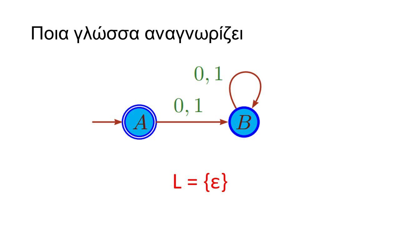 Ποια γλώσσα αναγνωρίζει L = {ε}