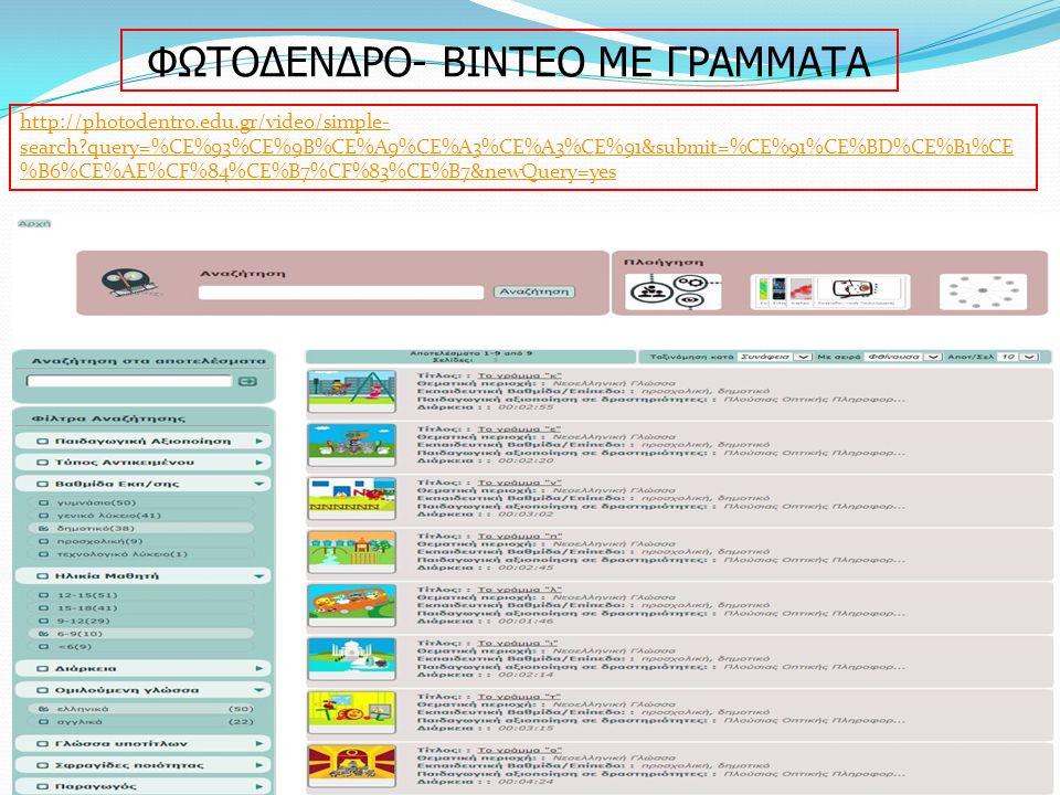 ΦΩΤΟΔΕΝΔΡΟ- ΒΙΝΤΕΟ ΜΕ ΓΡΑΜΜΑΤΑ http://photodentro.edu.gr/video/simple- search?query=%CE%93%CE%9B%CE%A9%CE%A3%CE%A3%CE%91&submit=%CE%91%CE%BD%CE%B1%CE %B6%CE%AE%CF%84%CE%B7%CF%83%CE%B7&newQuery=yes