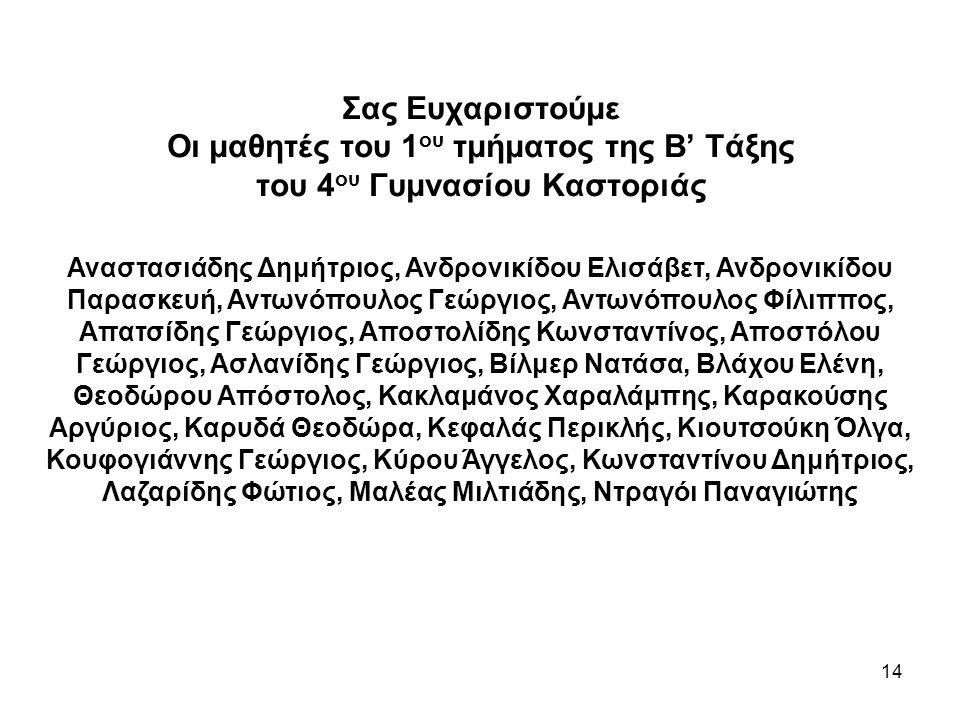 14 Σας Ευχαριστούμε Οι μαθητές του 1 ου τμήματος της Β' Τάξης του 4 ου Γυμνασίου Καστοριάς Αναστασιάδης Δημήτριος, Ανδρονικίδου Ελισάβετ, Ανδρονικίδου Παρασκευή, Αντωνόπουλος Γεώργιος, Αντωνόπουλος Φίλιππος, Απατσίδης Γεώργιος, Αποστολίδης Κωνσταντίνος, Αποστόλου Γεώργιος, Ασλανίδης Γεώργιος, Βίλμερ Νατάσα, Βλάχου Ελένη, Θεοδώρου Απόστολος, Κακλαμάνος Χαραλάμπης, Καρακούσης Αργύριος, Καρυδά Θεοδώρα, Κεφαλάς Περικλής, Κιουτσούκη Όλγα, Κουφογιάννης Γεώργιος, Κύρου Άγγελος, Κωνσταντίνου Δημήτριος, Λαζαρίδης Φώτιος, Μαλέας Μιλτιάδης, Ντραγόι Παναγιώτης