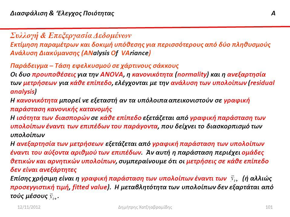 Διασφάλιση & 'Ελεγχος ΠοιότηταςΑ 12/11/2012Δημήτρης Χατζηαβραμίδης101 Συλλογή & Επεξεργασία Δεδομένων Εκτίμηση παραμέτρων και δοκιμή υπόθεσης για περι